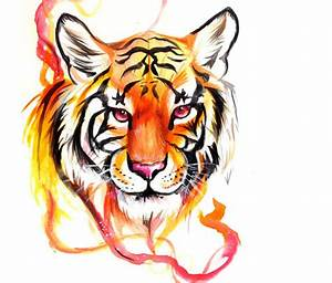 Tiger design color drawing by Katy Lipscomb Art | No. 1391