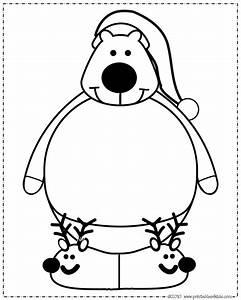 coloring page polar bear - print and color polar bear santa hat printables for kids