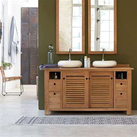 meuble pour salle de bain en teck meubles coline duo sous vasque tikamoon