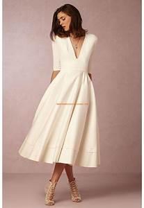 Robe Mi Longue Mariage : robe de mari e satin manches mi longue col en v s duisant pas cher la mode robes de mariee ~ Melissatoandfro.com Idées de Décoration