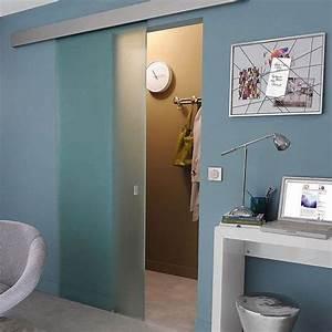 porte coulissante seule en verre depoli kidal castorama With porte d entrée alu avec salle de bain italienne castorama