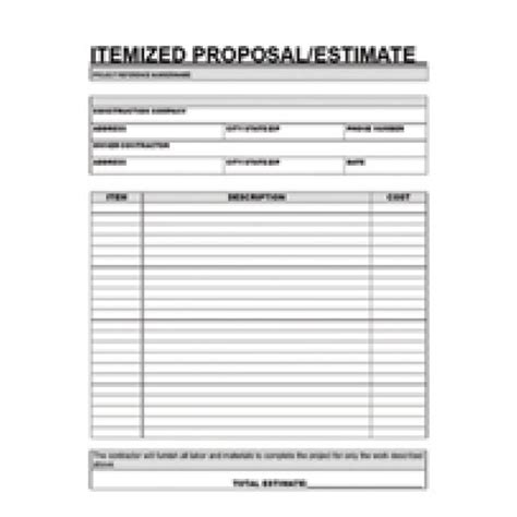 printable contractor proposal forms home