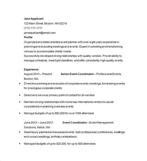 Wedding Event Planner Resume by Event Planner Resume Template 11 Free Sles Exles