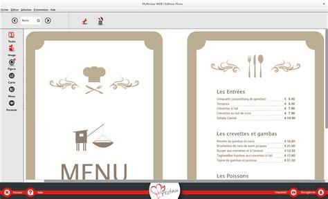 Carte De Menu Restaurant logiciel gratuit pour imprimer des cartes de menu