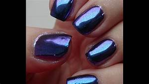 duo chrome blue mauve pigment for gel nails from
