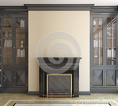 modern living room  fireplace royalty  stock