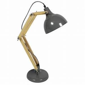 Lampe De Bureau Articule Mtal Bois Hadar Par Drawerfr