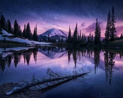 Winter Nature Night Reflection 4k Lake Wallpapers