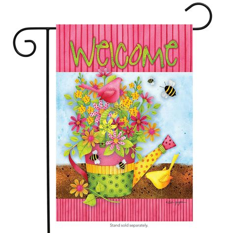 Floral Welcome Spring Garden Flag Watering Can Primitive