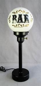 Vtg black bar light white milk glass ball globe table lamp for Z bar table lamp