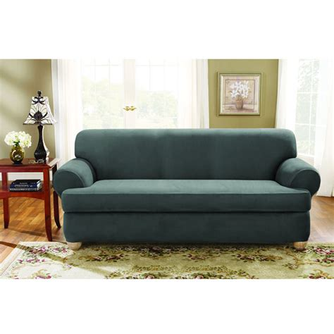 2 piece t cushion sofa slipcover sure fit stretch suede sofa 2 piece t cushion slipcover