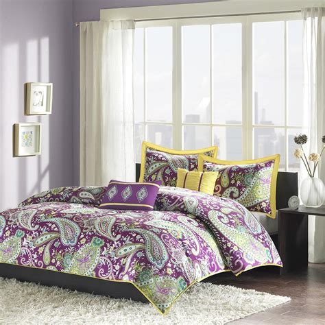 purple duvet cover purple green yellow paisley print teen bedding
