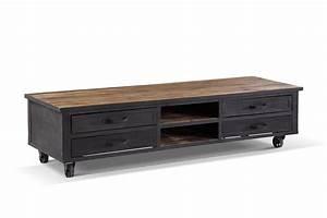 Meuble Tele Bas : meuble tv industriel roulettes bois et m tal tv01 rose moore ~ Teatrodelosmanantiales.com Idées de Décoration