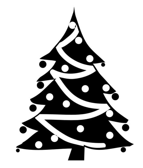 best christmas tree clipart black and white 14635