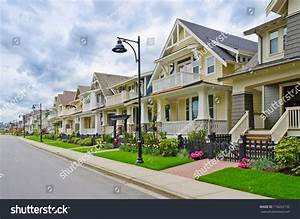 Perfect Neighborhood Houses Suburb Spring North Stock ...