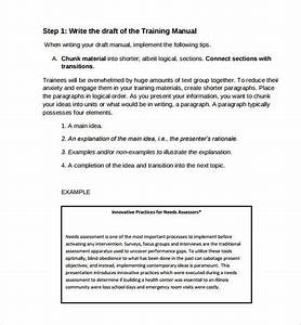 Sample Training Manual Template Example