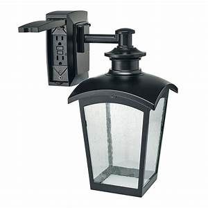 hampton bay die cast exterior lantern with gfci black md With outdoor light fixture with an outlet
