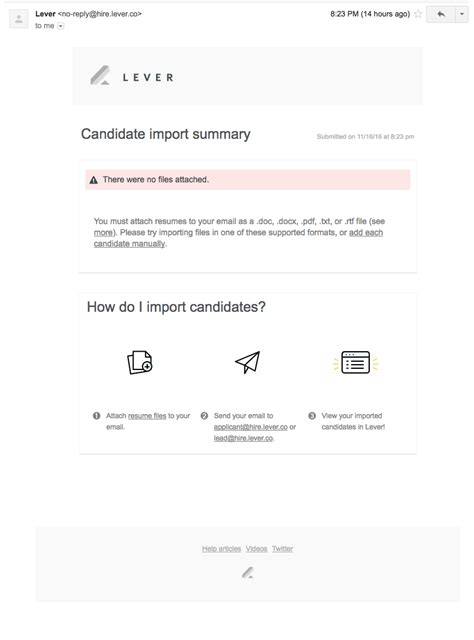how do i forward candidates to lever via email lever