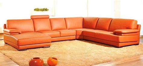 canap cuir orange canape panoramique cuir salon tilao 4 tetiere