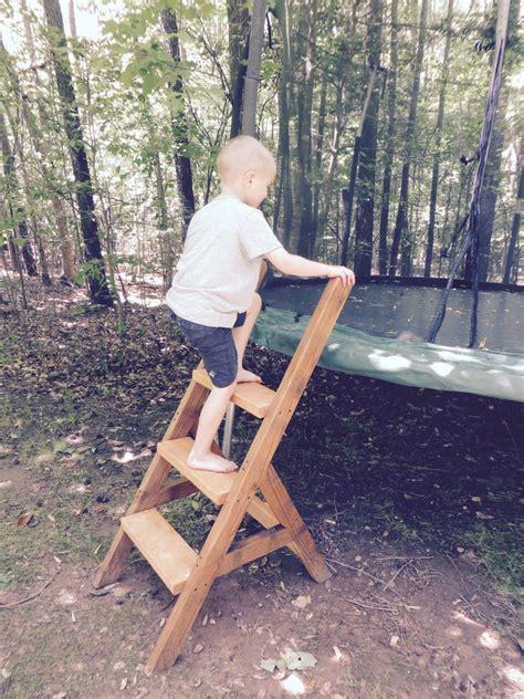 project lady diy wood trampoline ladder easy sturdy