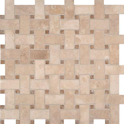 basketweave tile ms international colisseum basketweave 12 in x 12 in x 10 mm honed travertine mesh mounted