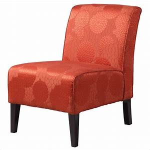Linon lily slipper matelasse burnt orange accent chair for Orange living room chairs