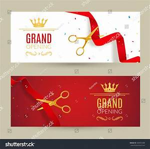 Grand Opening Invitation Banner Red Ribbon Stock Vector ...