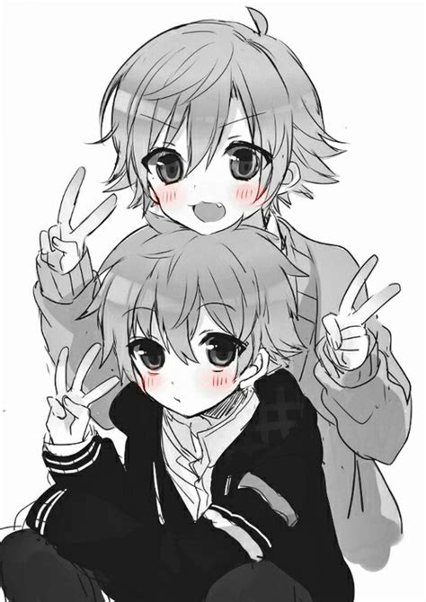 Kawaii Anime Boy 3 By Alyssaholt13 Kawaii Anime Boys 3 Posing With Peace Signs Image