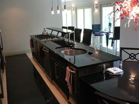 incridible black granite top kitchen island with seating