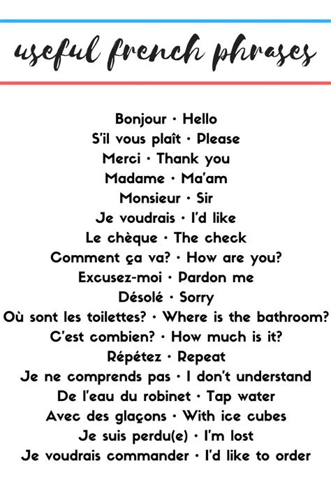 Useful French Phrases - round trip in 2020   Useful french ...
