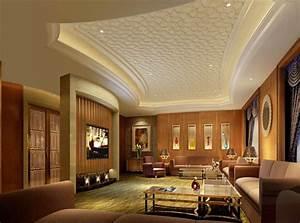 Luxury pattern gypsum board ceiling design for modern for Interior ceiling design for living room
