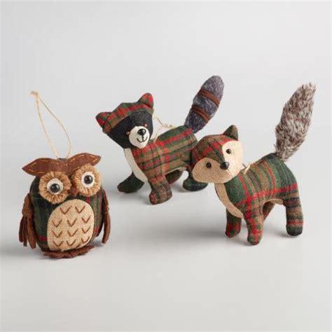 fabric plaid woodland animal ornaments set of 3 world market