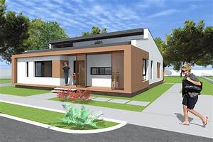 Small modern bungalow house design. 133 square meters ...