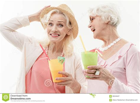 Pretty Old Ladies Enjoying Vacation Stock Image Image Of