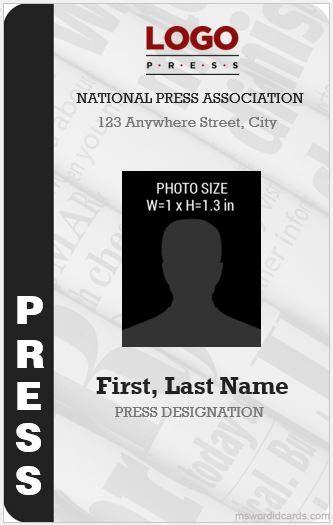 press reporter id card templates microsoft word