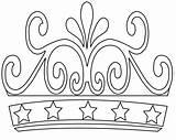 Crown Coloring Pages Princess King Birthday Simple Printable sketch template