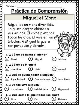 spanish reading comprehension stories comprension