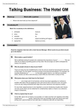 hospitality worksheets printable learning   read