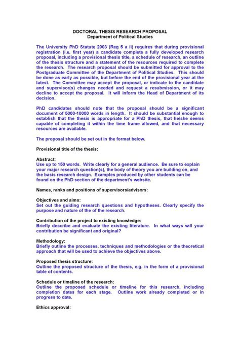 doctoral thesis proposal template  format