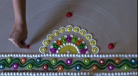 diwali special multicoloured semi circle rangoli design