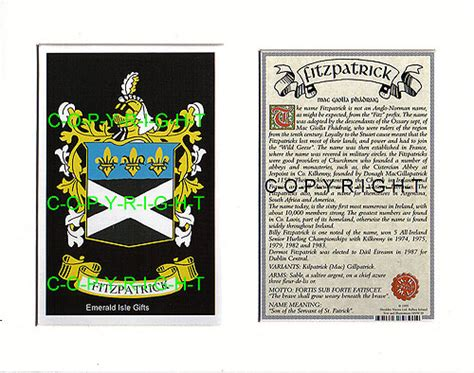 heraldic mounts fitzpatrick family crest  history