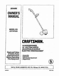Craftsman 257797020 User Manual 13 Electric Weedwacker