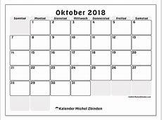 Kalender Oktober 2018 SS