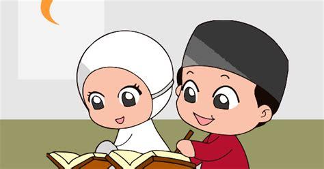 kartun anak sd belajar mengaji guru corel