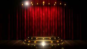 Red Curtain Stage With Golden Podium And Loop Lights Stock ...