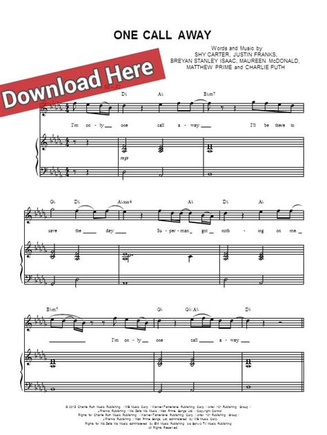puth one call away sheet piano notes chords