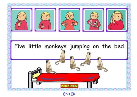 Five Piggies Jumping On The Bed by Let S Sign 5 Monkeys Jumping On The Bed Ebook