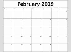 February 2019 Monthly Calendar