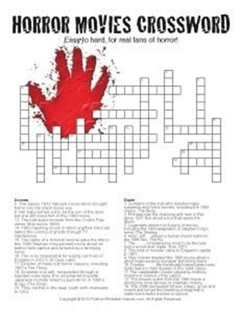 halloween crosswords printable games