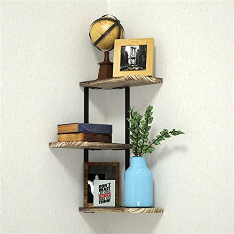 corner shelf wall mounted  tier rustic wood floating
